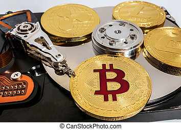 conduire, monnaie, bitcoin, blockchain, intérieur, dur