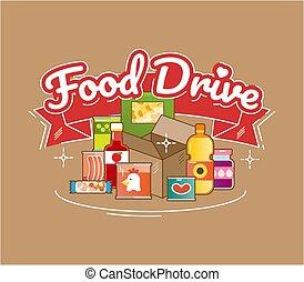 conduire, vecteur, nourriture, charité, mouvement, illustration