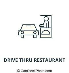 conduire, vector., travers, symbole, restaurant, icône, ligne, plat, illustration, concept, contour, signe