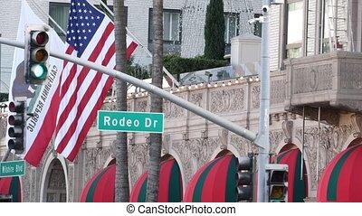conduire, vie, consumérisme, flag., américain, beverly, los, magasins, californie, rodéo, signe, marques, riche, concept., luxe, riche, high-class, rue, célèbre, angeles, unated, route, contre, etats, mondiale, usa., collines