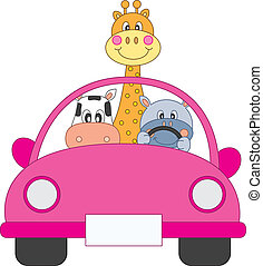 conduire voiture, animaux