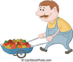 conduit, légumes, hommes, camion