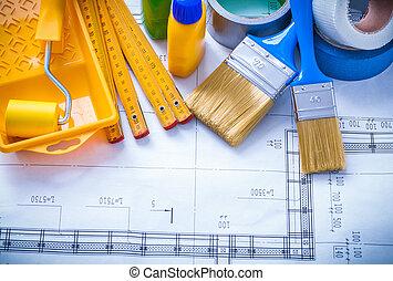 conduit, mètre, peinture, construction, bande, bois, outils, dessin