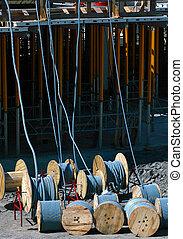 Conduit - reels of plastic conduit on a construction site