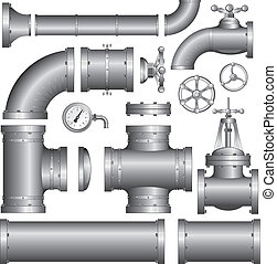 Vector Collection of detailed pipe construction pieces, include pipes, fittings, gate valve, faucet, ells ...
