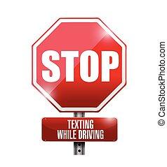 conduite, arrêt, texting, illustration, signe, quoique, route