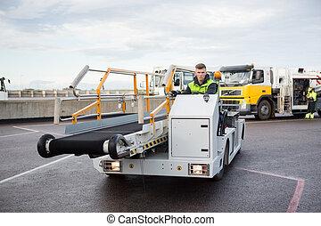 conduite, bagage, piste, convoyeur, ouvrier, aéroport, camion, mâle