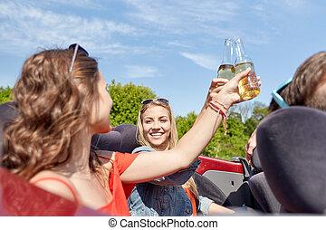 conduite, cabriolet, voiture, bière, amis, heureux