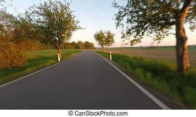 conduite, campagne, printemps, arbre, ruelle, voiture, route rurale