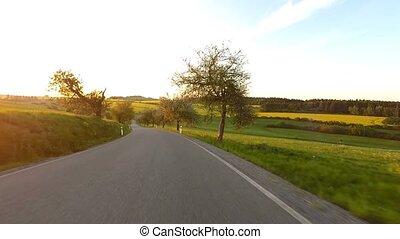 conduite, campagne, temps ressort, voiture, rural