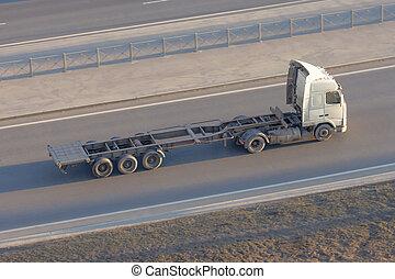 conduite, cargaison, sommet, long, autoroute, sans, camion, caravane, au-dessus, vue., vide