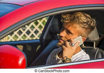 conduite, conversation, distrait, jeune, téléphone, homme