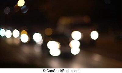 conduite, defocus, voitures, lumières, nuit, autoroute