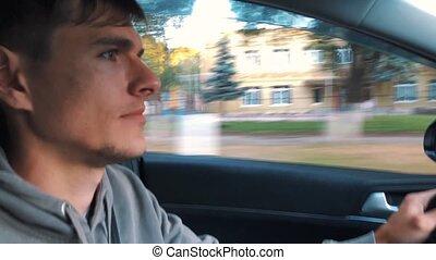 conduite, dehors, voiture, cityscape, beau, homme