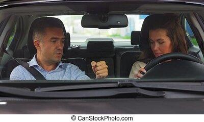 conduite, enseignement, femme, instructeur, école, voiture