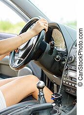 conduite, femme, person., main, unrecognizable, voiture.