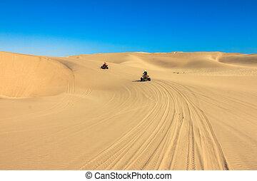 conduite, gens, -, deux, motards, sable, desert., quad, heureux