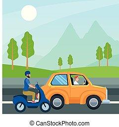 conduite, gens, vecteur, motocyclette, conception, voiture