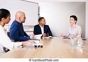 conduite, groupe, business, businesspersons, divers, réunion, important