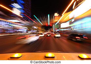 conduite, image, temps, lapsed, bas, vegas, bande, las