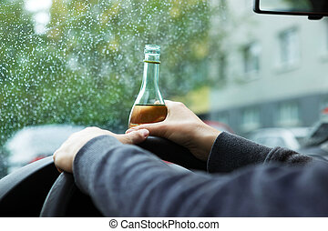 conduite, ivre, chauffeur, jeune, voiture., bouteille,...