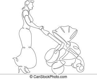 conduite, jeune femme, voiture d'enfant, robe