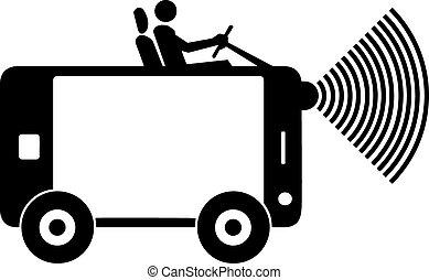 conduite, mobile, voiture, signal., illustration, signe, téléphone, vecteur, wirrless, homme