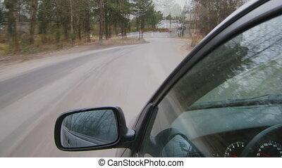 conduite, point, voiture, timelapse, vidéo, vue
