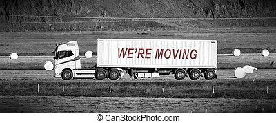 conduite, secteur, -, camion, par, we're, rural, en mouvement