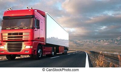 conduite, semi-remorque, camion, long, désert, route