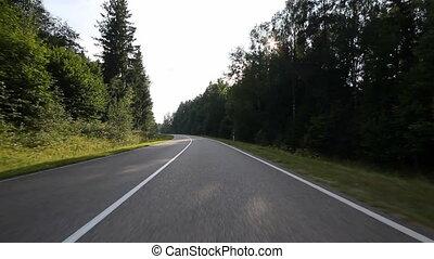 conduite, sur, route pays
