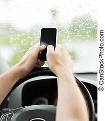 conduite, téléphone voiture, quoique, utilisation, homme