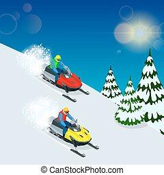 conduite, vecteur, sports, homme, snowmobile., jeûne, action...