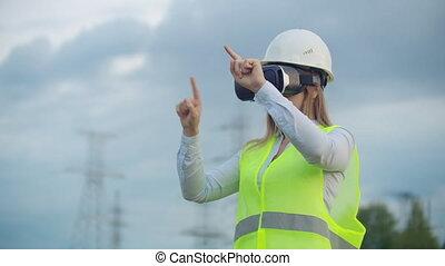conduite, via, contrôleur, puissance, tours, habillé, moderne, réalité virtuelle, femme, fond, portrait, blanc uniforme, inspection, lunettes, casque, ingénieur
