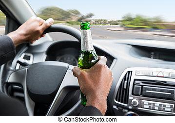 conduite, voiture, bière, quoique, tenue, homme affaires