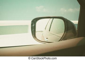 conduite, voiture, ciel, fenêtre, côté, quoique, noir, miroir, aile, vue