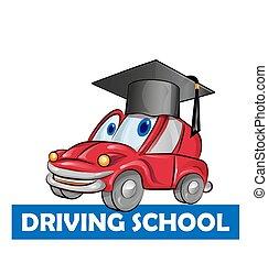conduite, voiture, isolé, dessin animé, blanc, école