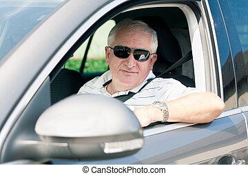 conduite, voiture, moderne, deux âges, beau, homme