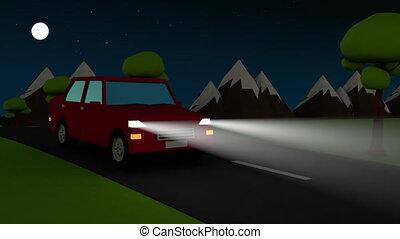 conduite, voiture, résumé, nuit, route pays, phares