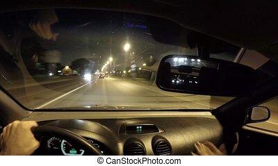 conduite, voiture, timelapse, conducteur, taxi, night., vue