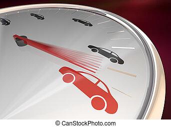 conduite, voiture, véhicule, illustration, jauge, automobile, en avant!, compteur vitesse, 3d