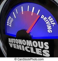 conduite, voitures, soi, véhicules, jauge, autonome