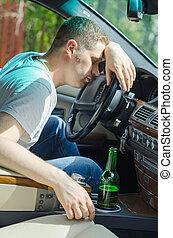 conduite, wheel., influence., dormir, sous, direction, homme