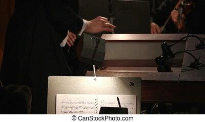 conduites, orchestre, homme, mains