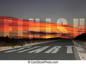 condurre, fine, strada