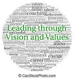 condurre, throuth, concetto visione, in, parola, etichetta,...