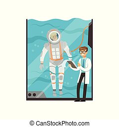 condutas, submarinas, treinamento, modernos, technology., doutor, médico, tank., personagem, jovem, apartamento, vidro água, astronaut., exame, spacesuit., piloto, vetorial, caricatura, homem