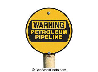 conduttura, avvertimento, petrolio, isolato, segno