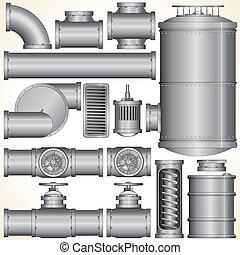 conduttura, industriale, parts.
