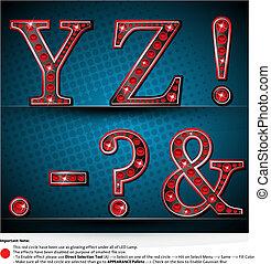 conduzido, lâmpada, jogo, letras, vermelho